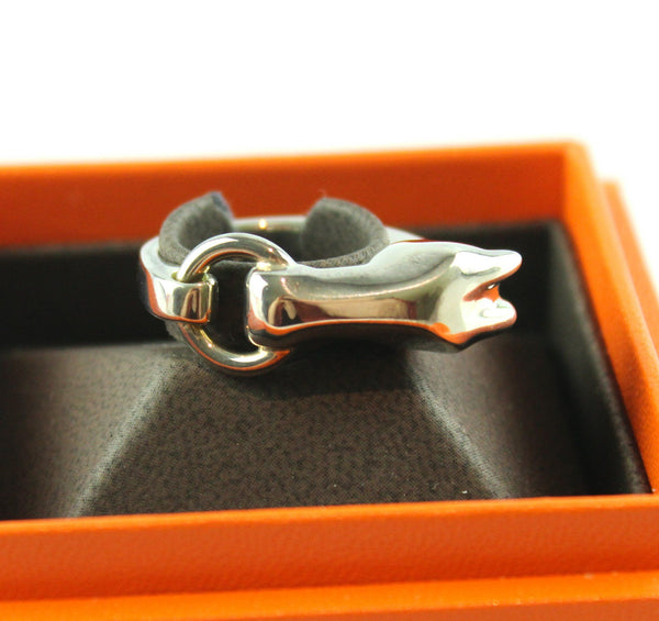 Hermes Galop Sterling Silver Ring 55