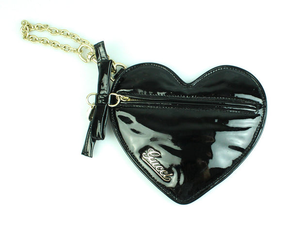 Gucci Shima Black Patent Heart Clutch/Charm