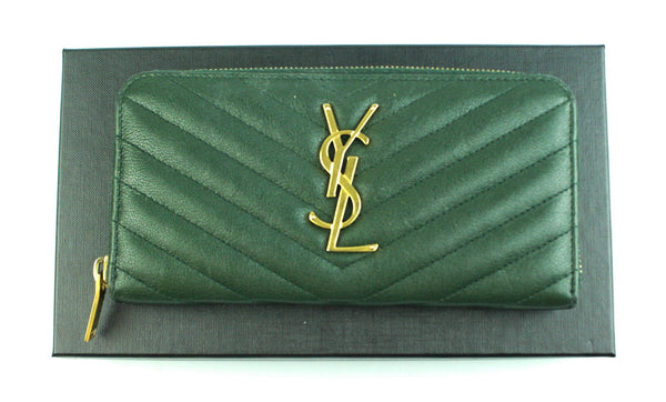 Saint Laurent New Vert Fonce Mono Zip Around Wallet Grain De Poudre