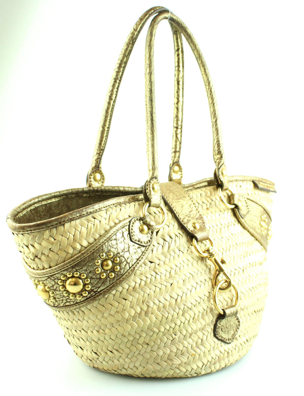 Miu Miu Raffia Basket Bag Gold