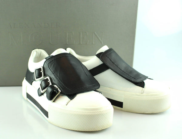 Alexander McQueen Larry White/Black Buckle Sneakers EUR 36 UK 3
