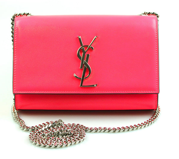 Saint Laurent Small Kate Chain Neon Pink Grain De Poudre
