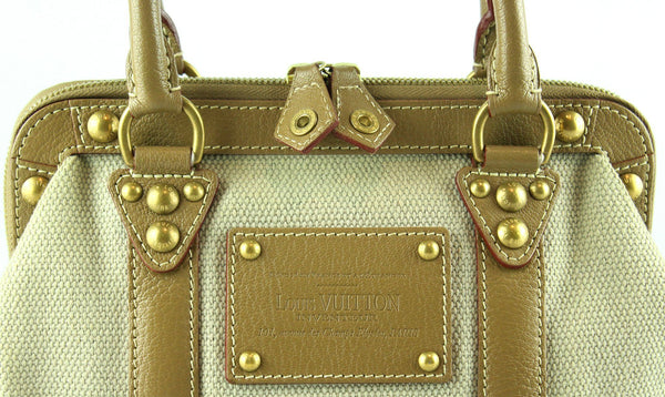 Louis Vuitton Ltd Edition Grey Trianon Canvas And Tan Suhali Leather Sac De Nuit PM SP1024
