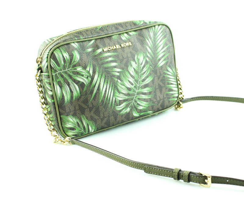 Michael Kors Olive Jungle Print Jet Set Box Crossbody