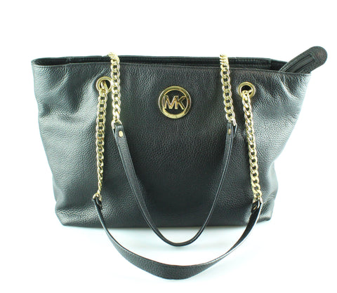 Michael Kors Black Leather Jet Set Chain Tote GH