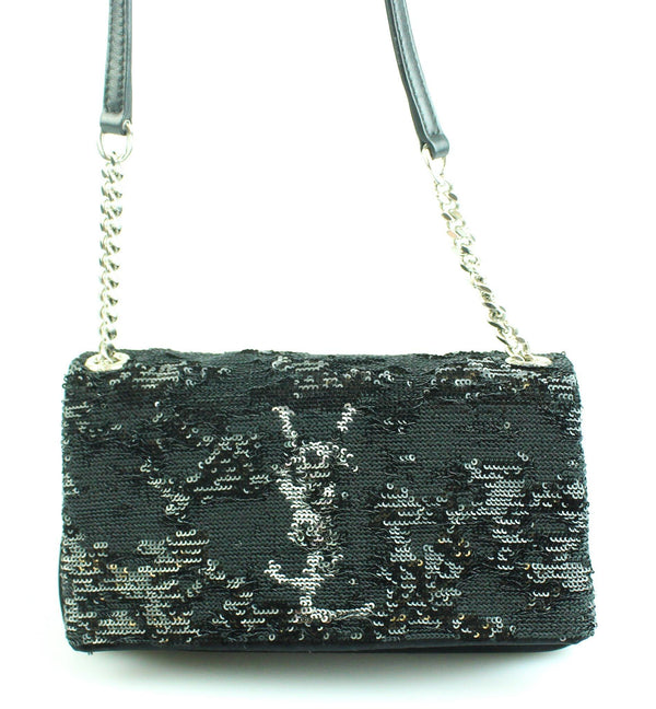 Saint Laurent Mini Sequin Mono Black Crossbody