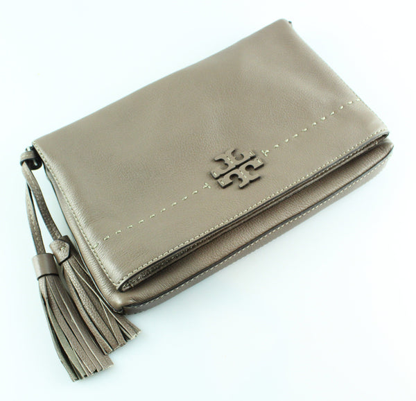 Tory Burch Taupe McGraw Foldover Crossbody