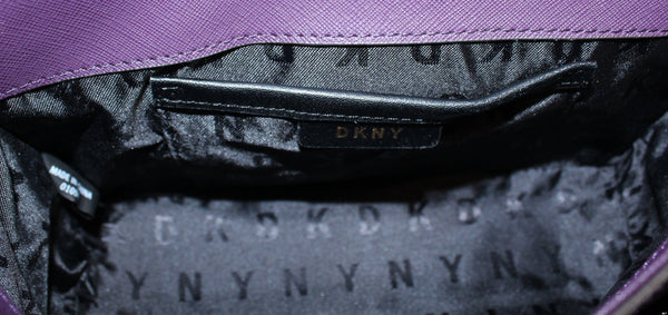 DKNY Saffiano Small Flap Crossbody Aubergine GH New