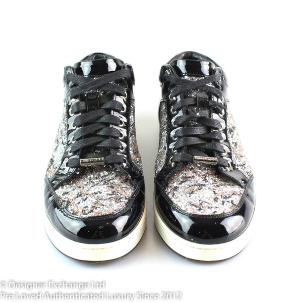 Jimmy Choo Miami Glitter/Black Patent Sneakers 38.5/5.5