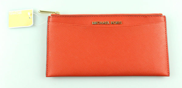 Michael Kors Orange Saffiano Slim Long Wallet GH