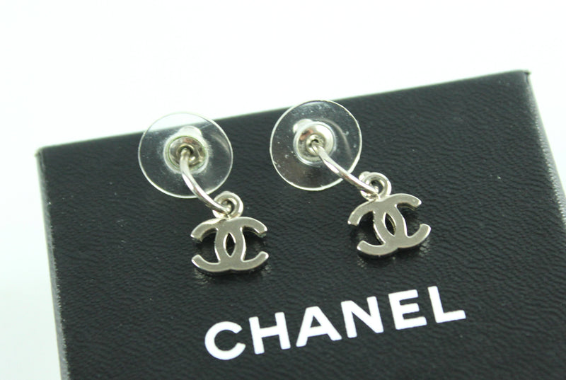 Chanel Silver Tone CC Pendant Earrings