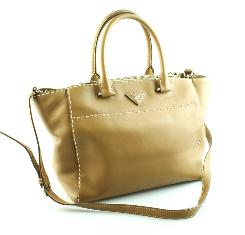 Prada Caramel City Calf Double Zipped Tote With Long Strap SH