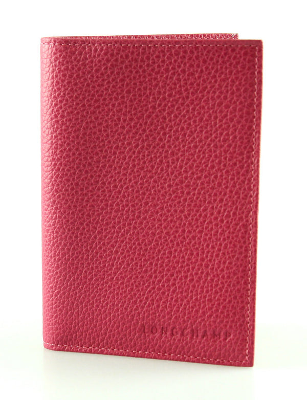 Longchamp Pink Leather Passport Case
