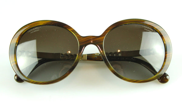 Chanel Tortoise Shell Oval Link Chain Polarized Sunglasses