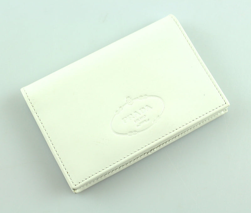 Prada White Drummed Leather Card Case