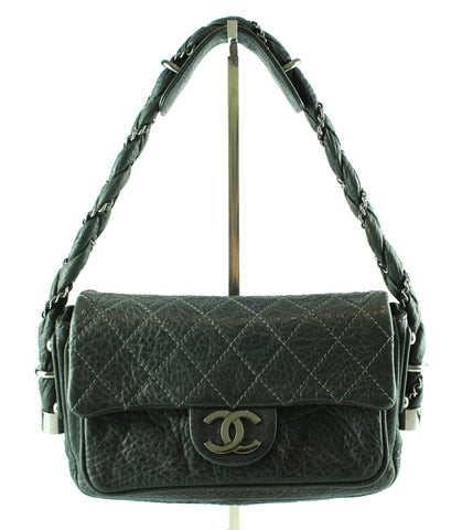 Chanel Grey Distressed Leather Lady Braid Flap Bag