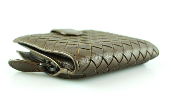 Bottega Veneta Woven Bifold Wallet Brown