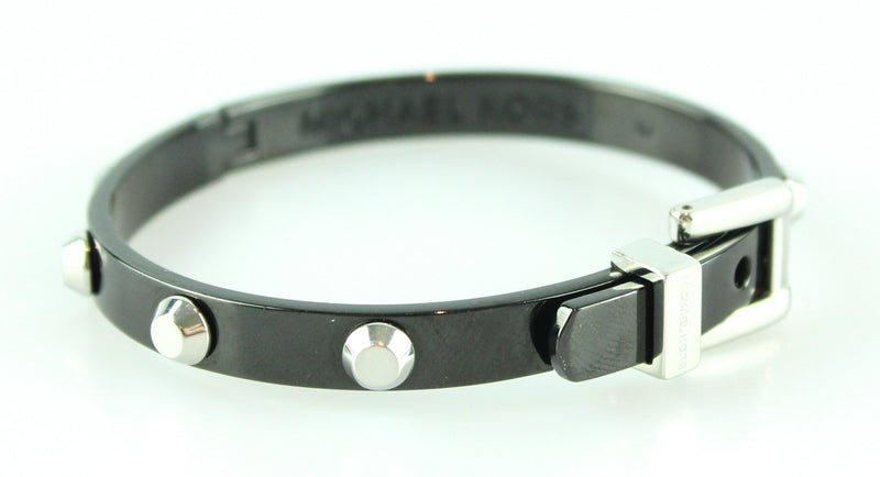 Michael Kors Black Studded Metal Bangle Black With Buckle