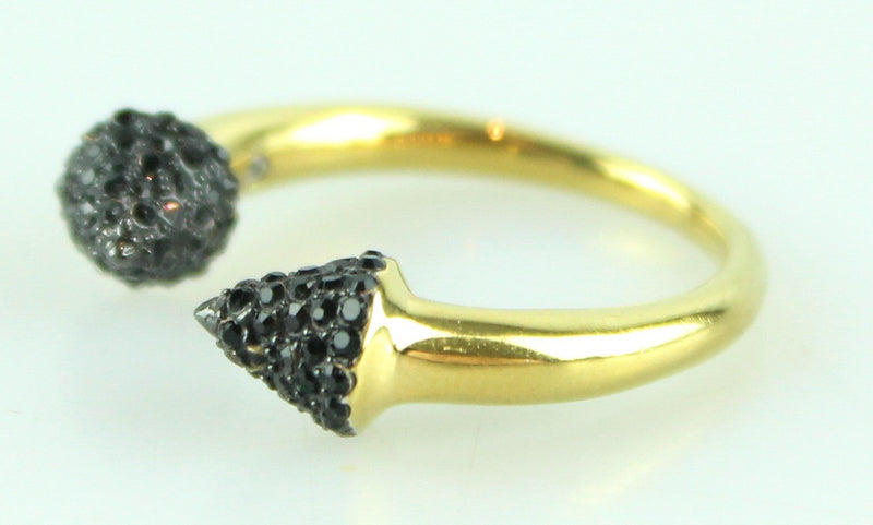 Michael Kors Gold And Black Pave Arrow Ring