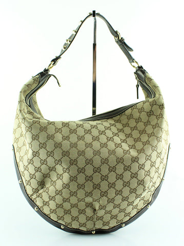 Gucci Monogram Canvas/Leather Studded Hobo