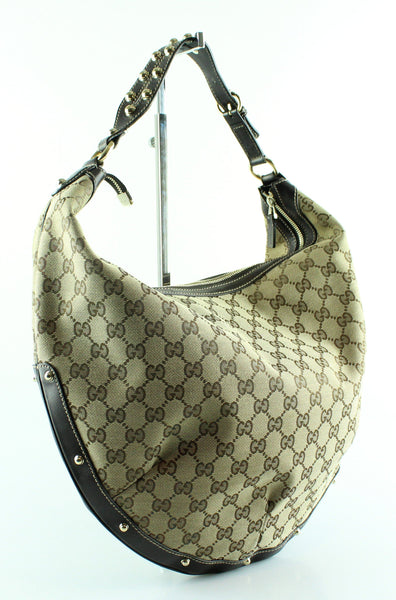 c67b13541197 Gucci Monogram Canvas/Leather Studded Hobo – Designer Exchange Ltd