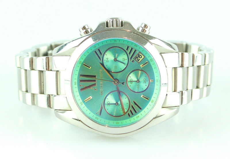 Michael Kors Bradshaw Chronograph Teal Dial Stainless Steel Ladies Watch