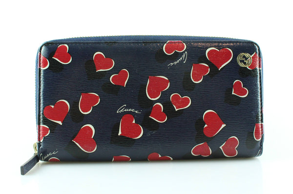 Gucci Heartbeat Collection Blue Leather Wallet