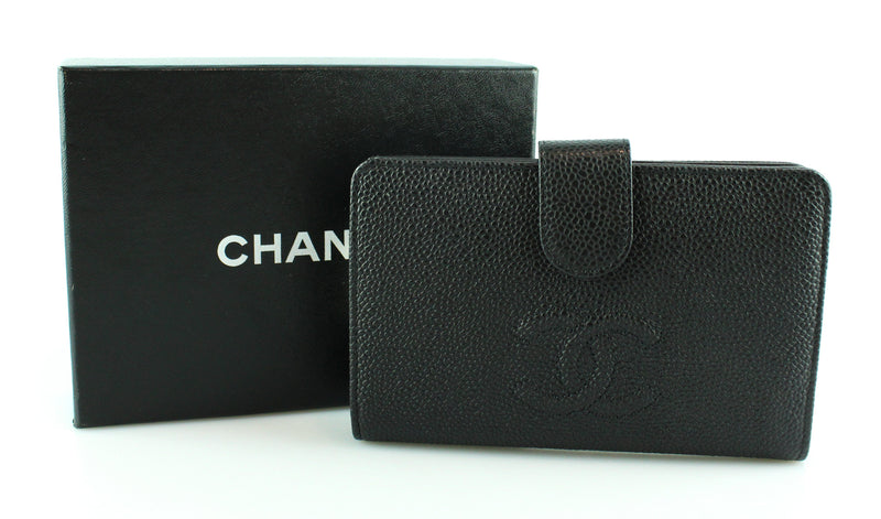Chanel Black Caviar Leather Timeless CC Wallet 2012