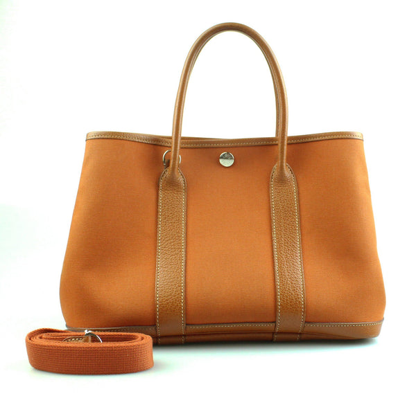 Hermes Garden Party Orange With Strap Small