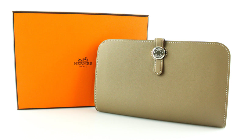 Hermes Dogon Duo Wallet Swift Leather Etoupe 2015 (T No Square)