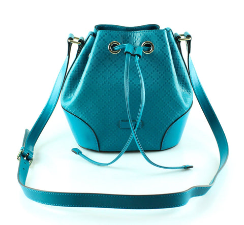 Gucci Bright Blue Diamante Leather Small Bucket Bag