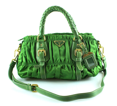 Prada Gauffre Nylon Green Small Shoulder Bag