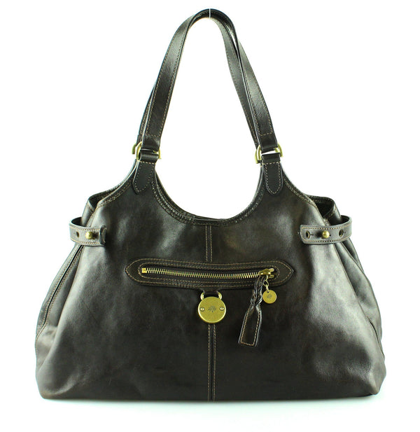 Mulberry Brown Leather Somerset Hobo Brass Hardware