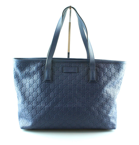 Gucci Blue Leather Guccissima Tote Bag
