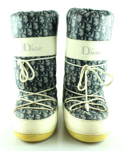Christian Dior Monogram Nylon and Leather Snow Boots EUR41-43 UK7-9