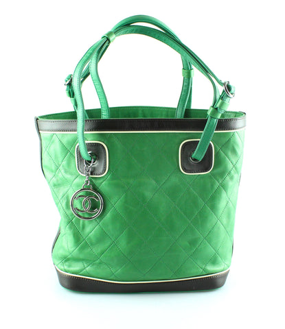 Chanel 2007 Tricolour Green Lambskin Bucket Bag