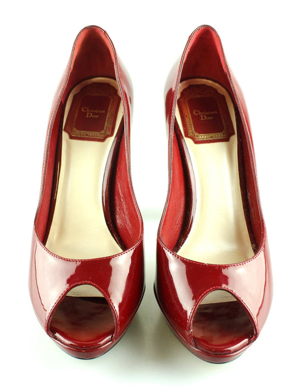 Christian Dior Ruby Patent Leather Peep Toe Heels EUR 36 UK 3