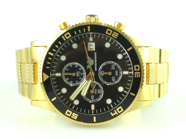 Emporio Armani AR5857 Gold Strap Black Dial Chronograph Watch