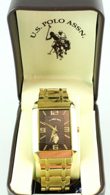 US Polo Association Gold Strap Black Dial Analogue Watch
