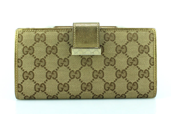 Gucci Gold Leather Trim GG Canvas Long Flap Wallet