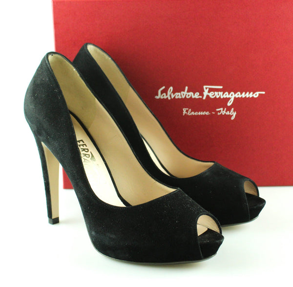 Salvatore Ferragamo Black Suede Fiordaliso Courts EUR 41 UK 8