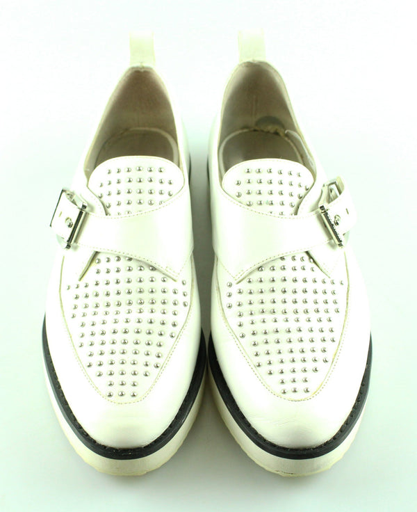 Michael Kors White Leather Silver Stud Platform Casual Shoe UK 4.5