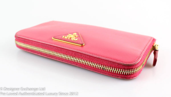 Prada Palissandro Rose Zip Around Wallet