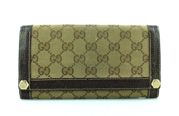 Gucci Brown Leather Trim Canvas GG Long Flap Wallet