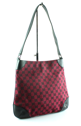Gucci Red Monogram Canvas/Black Leather Shoulder Bag