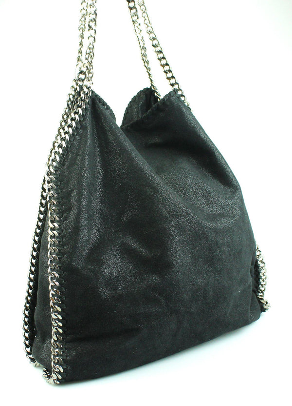 Stella McCartney Black Two Chain Shaggy Deer Falabella Large
