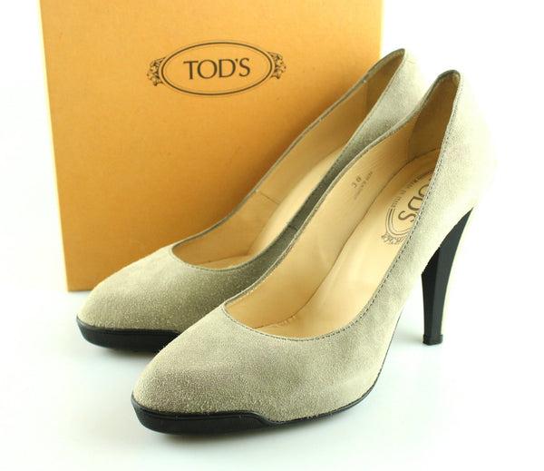 Tod's Pointy Decollete Suede Grey Courts UK5 EUR38