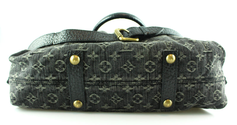 Louis Vuitton Monogram Black Denim Cabby MM VI4017