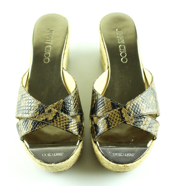 Jimmy Choo Prima Mahogany Snake Wedge EUR 36 UK 3