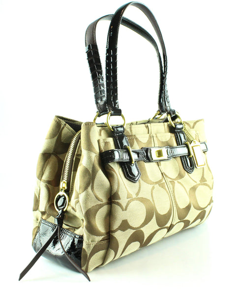 Coach Monogram Canvas Turn Lock Tote With Patent Trim
